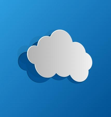 ritagliare: Illustrazione tagliare nuvola, carta blu - vettore