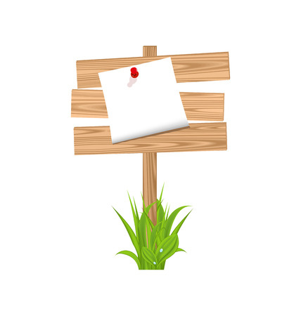 Illustration wooden signpost with announcement, grass - vector Vector