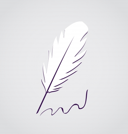 Illustration white feather calligraphic pen isolated - vector Stock Vector - 24341994