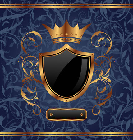 Illustration golden vintage with heraldic elements (crown, shield), seamless floral texture - vector Vector