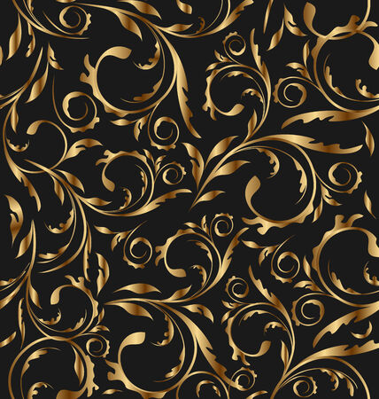 replicate: Illustration golden seamless floral background, pattern for continuous replicate - vector