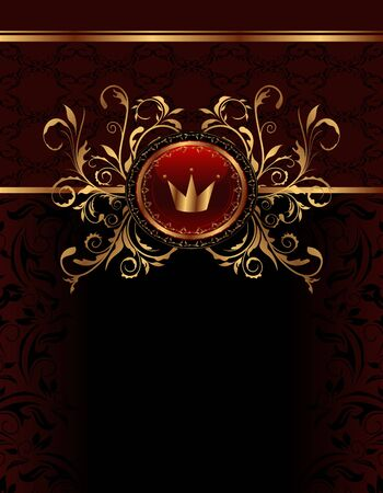Illustration golden ornate frame with crown - vector Vector