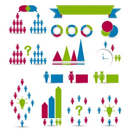 Illustration set human infographic design elements - vector  Illustration