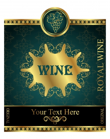 Illustration golden label for packing wine - vector Vector