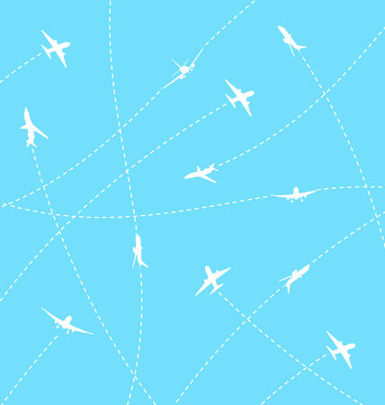 Illustration abstract background with airplane lines - vector Vector
