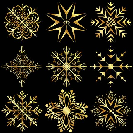 Illustration set large gold snowflakes isolated on black background - vector Vector