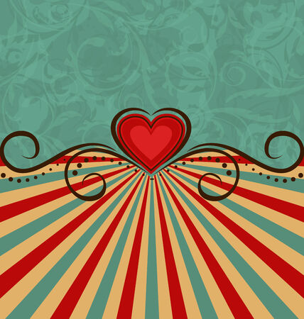 Illustration Valentine's Day vintage background - vector Vector