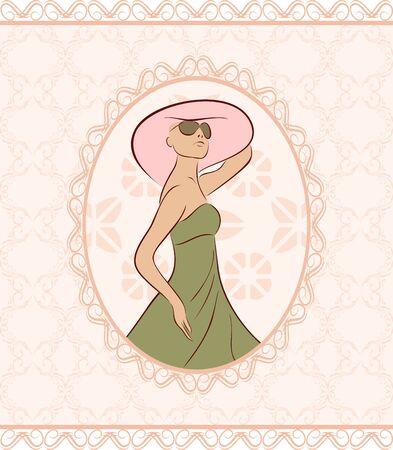 Ilustración de la vendimia con la tarjeta joven, el estilo de dibujo - vector