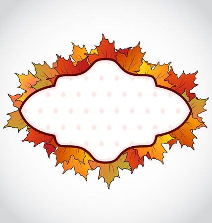 Illustration autumnal card with colorful maple leaves - vector