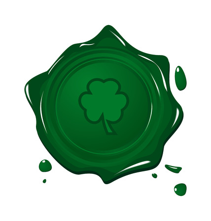 festal: Illustration stamp with clover for Saint Patrick day - vector
