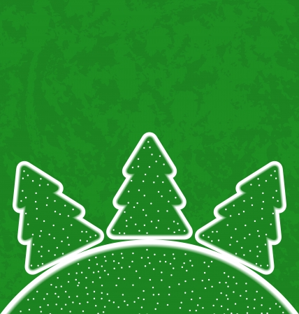 Illustration green paper cut-out set christmas tree - vector  Vector