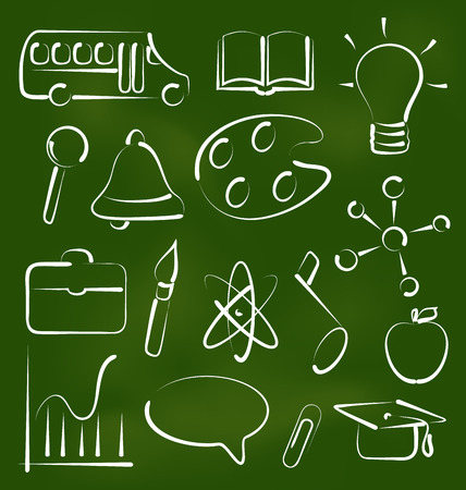 Illustration set school icons in chalk doodle style - vector Vector