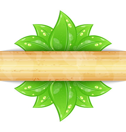 Illustration eco friendly background with green leaves, wooden texture - vector Vector