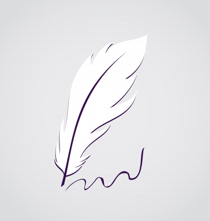 Illustration white feather calligraphic pen isolated - vector Stock Vector - 24378728