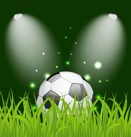 Illustration soccer ball on green grass with light - vector Stock Vector - 24378736