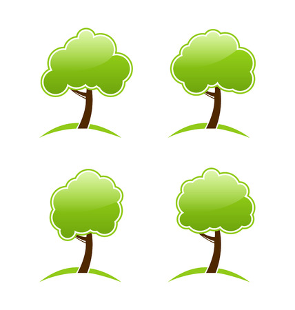 Illustration abstract green various icons trees - vector Vector