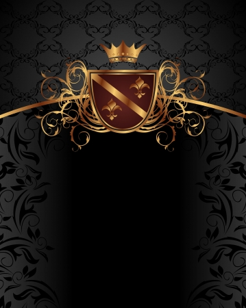 Illustration gold vintage with heraldic elements - vector