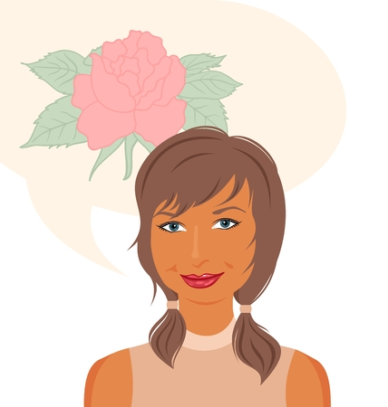 hoping: Illustration attractive girl dreams of roses - vector Illustration