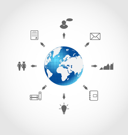 Illustration global internet communication, set business pictograms - vector Vector