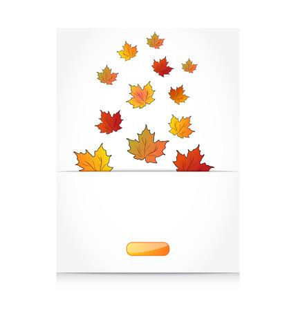 Illustration fall maple leaves, autumn background - vector