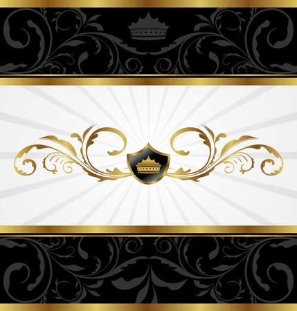 Illustration ornate golden decorative frame - vector Vector