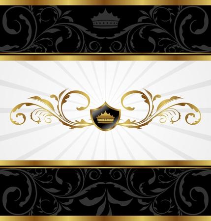 Illustration ornate golden decorative frame - vector