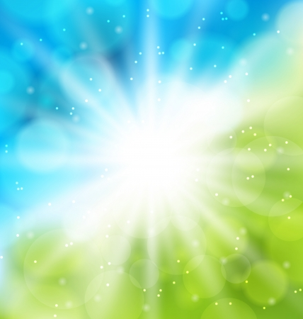 Illustration cute nature background with lens flare - vector