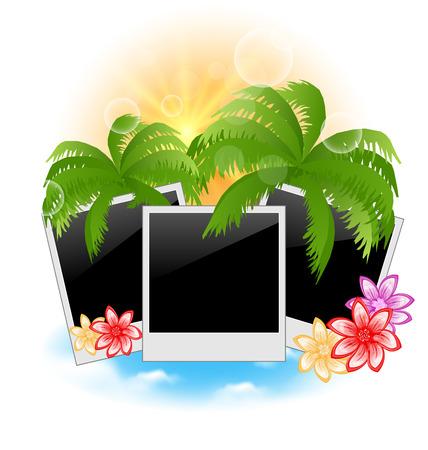 oceanside: Illustration set photo frame with palms, flowers, seascape background - vector Illustration