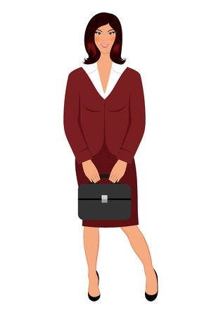 Illustration business women with case isolated - vector