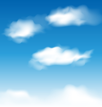Illustration wallpaper blue sky with realistic clouds - vector Vector