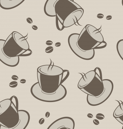 Illustration seamless background with coffee cups and beans - vector Vector