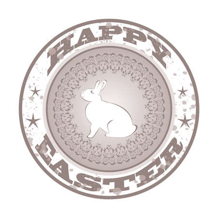 pascua: Illustration Easter grunge stamp with bunny - vector Illustration