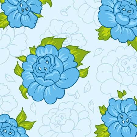 Illustration beautiful pattern with blue flowers - vector Vector