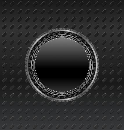 titanium: Illustration heraldic circle shield on titanium background - vector