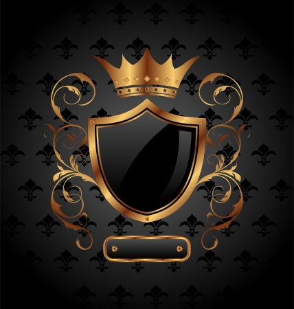 Illustration ornate heraldic shield with crown - vector Vector