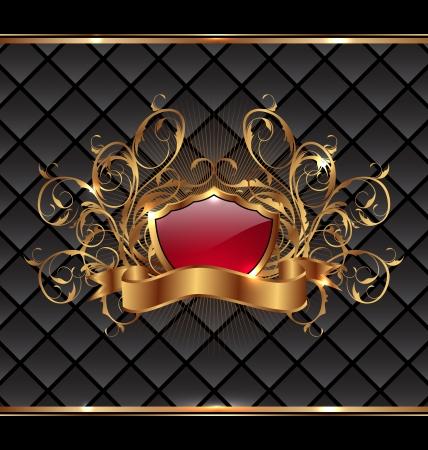 Ilustración elegancia marco oro con escudo heráldico - vector Foto de archivo - 24379399