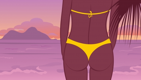 Illustration buttocks of young girl at sunset on beach - vector Vector