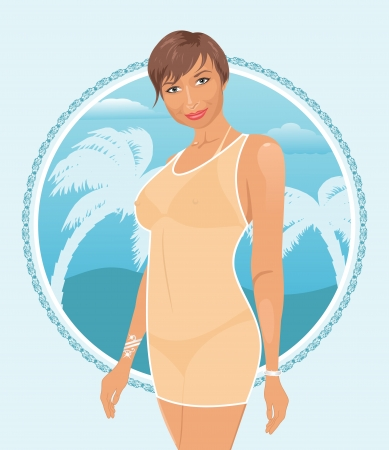 Illustration pretty girl on summer background - vector Vector