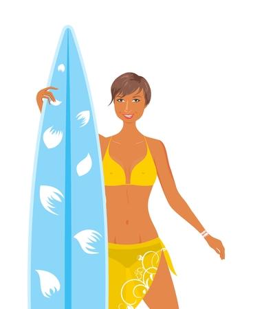 salud sexual: Ilustraci�n cool girl en traje de ba�o amarillo con tabla de surf en la mano, aislado - vector Vectores