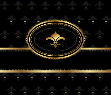 Illustration royal background with golden frame - vector Vector