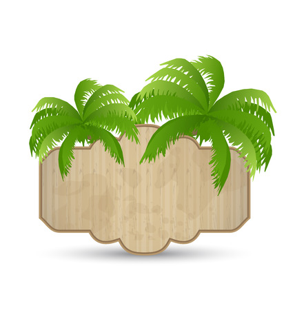 Illustration wooden advertising signboard with palms isolated - vector Vector