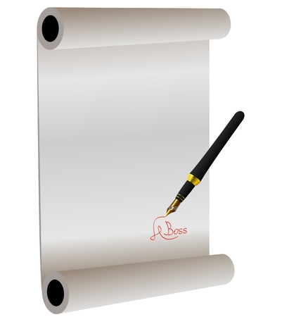 injunction: Illustration of hand-draw lettering on the paper roll - vector
