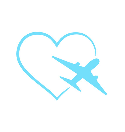Illustration airplane symbol in shape heart isolated on white background - vector Vector