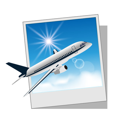 Illustration photo frame with plane isolated on white background - vector Vector