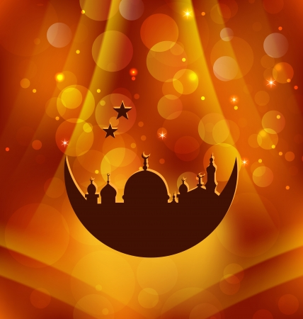 Illustration greeting card template for Ramadan Kareem - vector Vector