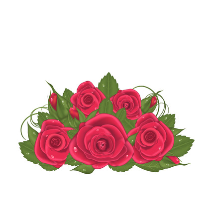 Illustration bouquet red roses isolated on white background - vector Vector