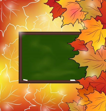 Illustration school board with maple leaves, autumn background - vector Vector