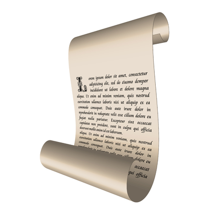 Illustration of an ancient scroll with text isolated on white background - vector Vector