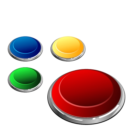 Illustration of set of multi-coloured buttons the arrangement is similar to trace of the wolf paw - vector  Vector