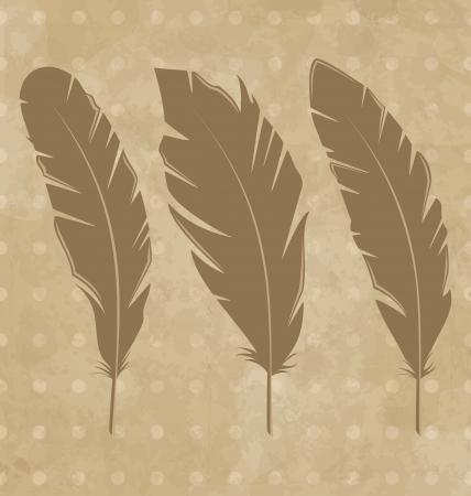 Illustration set vintage feathers on grunge background - vector Stock Vector - 24379776